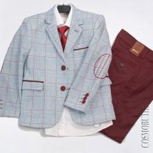 Модный костюм для мальчика на выпускной с бордовыми брюками