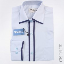 Рубашка для мальчика белая с синей оторочкой