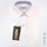 Белая однотонная рубашка для мальчика с коротким рукавом