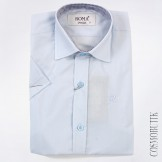Голубая однотонная рубашка для мальчика с коротким рукавом