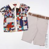 Комплект из футболки-поло с коротким рукавом и шорт с ремнём