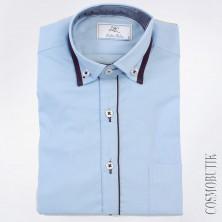 Рубашка голубая хлопковая с длинным рукавом