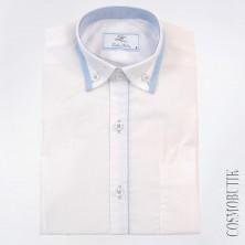 Рубашка школьная белая с голубым кантом
