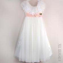 Воздушное платье в пол с розами на поясе