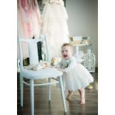 Молочное платье с длинным рукавом и бантом на спинке
