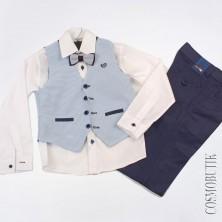 Костюм из рубашки с длинным рукавом, бабочки,  классических брюк и жилета на выпускной