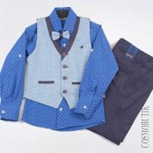 Модный костюм для мальчика с синей рубашкой и серым жилетом