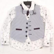 Модный костюм из рубашки с длинным рукавом, бабочки и жилета