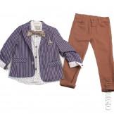Костюм из пиджака в полоску приталенного силуэта, рубашки, бабочки и брюк