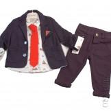 Костюм синий из пиджака приталенного силуэта, рубашки, галстука и брюк