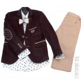 Костюм из бархатного пиджака, брюк, бабочки и рубашки с длинным рукавом