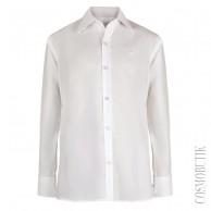 Белая однотонная рубашка для школьника с длинным рукавом