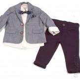 Костюм для мальчика с серым пиджаком и бабочкой