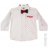 Рубашка белая с бордовой бабочкой
