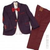 Сине-бордовый костюм с классическими брюками