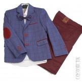 Костюм для мальчика на выпускной синий с бордовым
