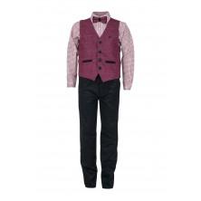 Модный жилетный костюм для мальчика с розовой рубашкой