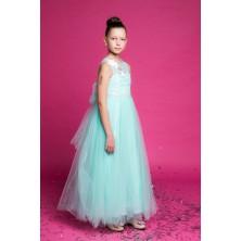 Длинное мятное платье