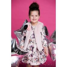Бархатное платье с розовым жилетом