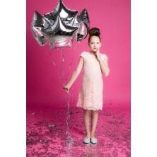 Розовое ажурное платье с ободком