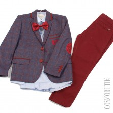Сине-бордовый нарядный костюм