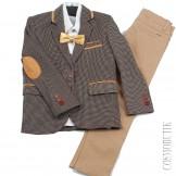Серо-бежевый костюм на выпускной Roma Kids-0583