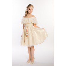 Платье золотого цвета с поясом