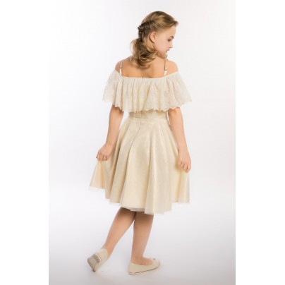 Золотое платье для девочки с поясом