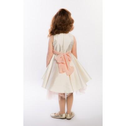 Атласное платье для девочки с цветами на поясе