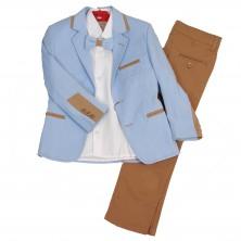 Костюм из нежно-голубого пиджака , брюк , бабочки и  рубашки с длинным рукавом