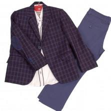 Костюм нарядный из пиджака в клетку, брюк  и рубашки с длинным рукавом