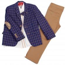 Сине-коричневый костюм Montella