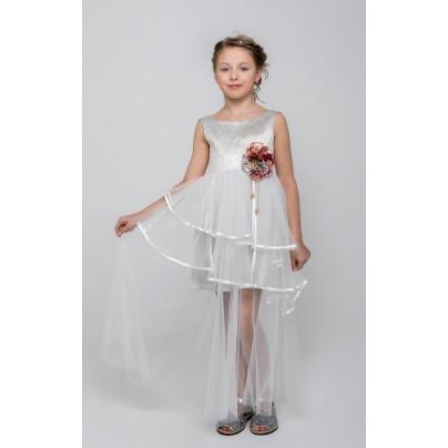 Платье с длинной прозрачной юбкой и цветами