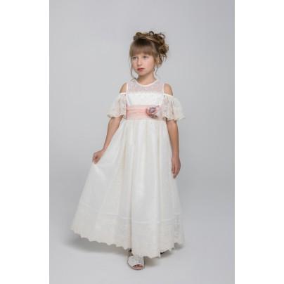 Кружевное платье в пол кремового цвета