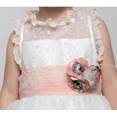Нарядное платье для девочки с искусственными цветами