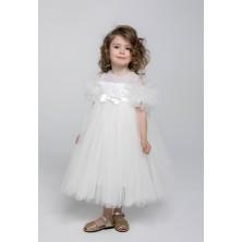 Фатиновое кремовое платье с жемчугом