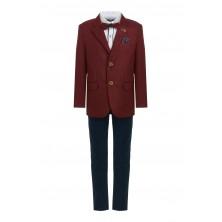 Костюм из бордового пиджака , брюк , бабочки и  рубашки с длинным рукавом
