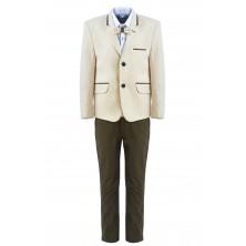 Костюм из молочного пиджака , брюк , бабочки и  рубашки с длинным рукавом
