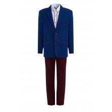 Костюм из синего  пиджака , брюк , бабочки и  рубашки с длинным рукавом