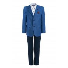 Костюм из ярко-синего пиджака , брюк , бабочки и  рубашки с длинным рукавом