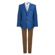 Костюм из синего пиджака , коричневых брюк , бабочки и  рубашки с длинным рукавом