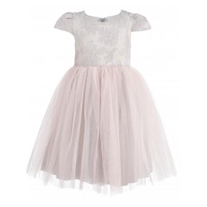 Жаккардовое платье для девочки с цветами