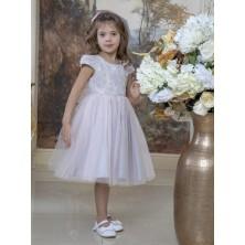 Пастельное  платье с жаккардовым верхом