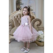 Розовое  платье  с цветами ручной работы