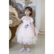 Нарядное платье с обьемными цветами  и бисером