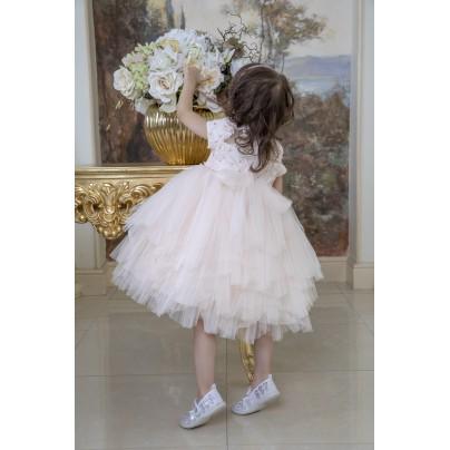 Бальное платье для девочки с цветами на поясе