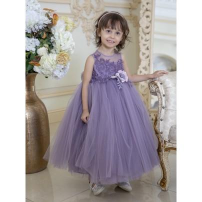 Бальное платье для девочки фиолетового цвета