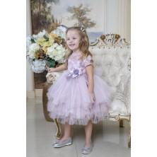 Лиловое  платье с цветочной аппликацией