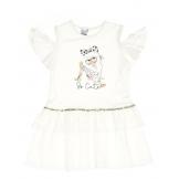 Платье с открытыми плечами, белое