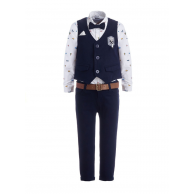Костюм для мальчика с жилетом, платком и брошью, синий